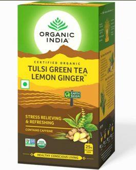 Tulsi Green Tea Lemon Ginger 25 Teabags Box
