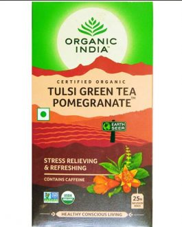 Tulsi Green Tea Pomegranate 25 Teabags Box